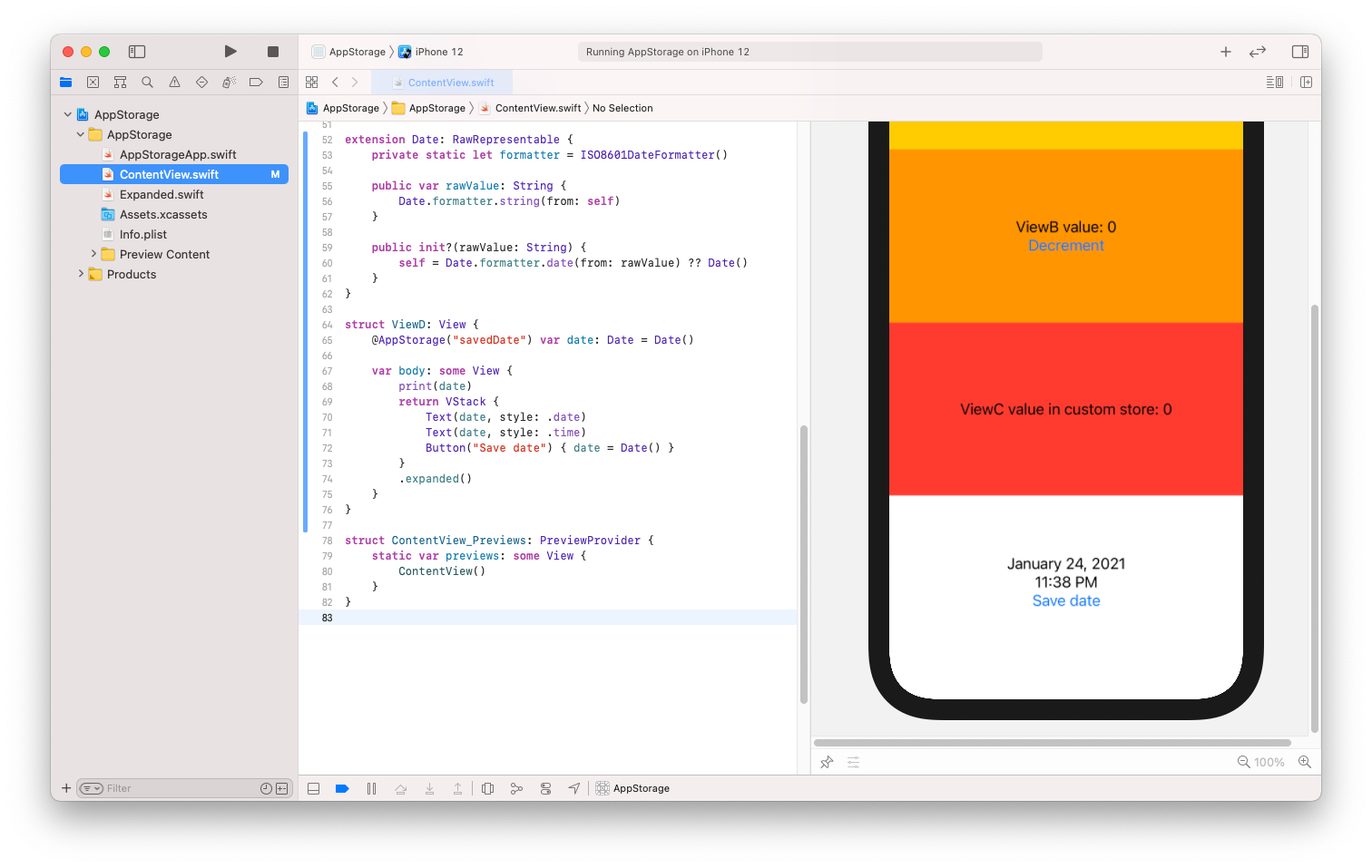 AppStorage Date example in Xcode Project
